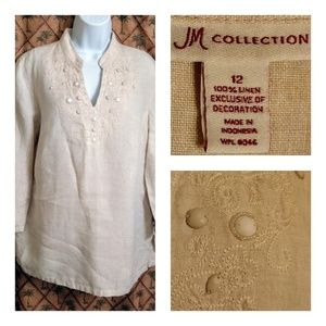 JM Collection Tan/Cream Linen Blouse